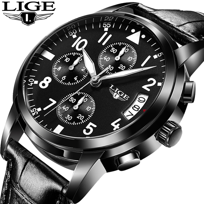 LIGE Men Watches Luxury Brand Multi Function Mens Sport Quartz Watch Man Waterproof leather Business Clock Male Wrist Watch