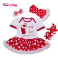 Red Color Christmas Dress Baby Girls Minnie Cotton Short Sleeve Dot Christmas Tree Style Tutu Dress Children's Clothing Set 4Pcs