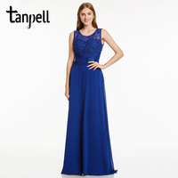 Tanpell Long Evening Dress Red Scoop Sleeveless Appliques A Line Floor Length Gown Cheap Beaded Lace