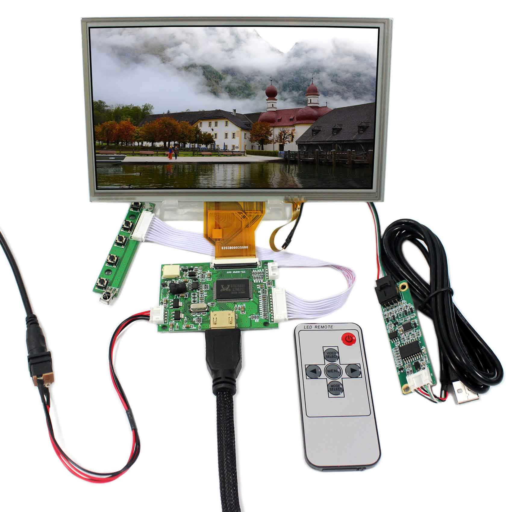 HDMI LCD Controller Board+8inch 800x480 AT080TN64 Touch LCD ScreenHDMI LCD Controller Board+8inch 800x480 AT080TN64 Touch LCD Screen