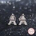 Shipinwei Original 925 Sterling Silver earrings for Women Eiffel Tower Clear CZ diamond Stud Earrings Fashion Jewelry for Gift