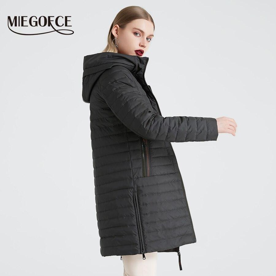 Miegofce 2019 봄/가을 여성용 후드 자켓 여성용 세련된 방풍 코트, 대형 포켓 롱 코튼 파카-에서파카부터 여성 의류 의  그룹 3