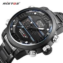 Модные многофункциональные стальные мужские спортивные часы с хронографом, цифровые водонепроницаемые наручные часы, новинка 9338