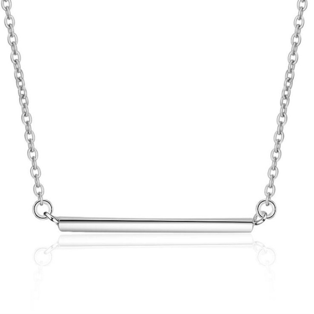 925 Sterling Silver Jewelry Aesthetic Beautiful Smooth Bars Anti-allergy Pendant Necklace