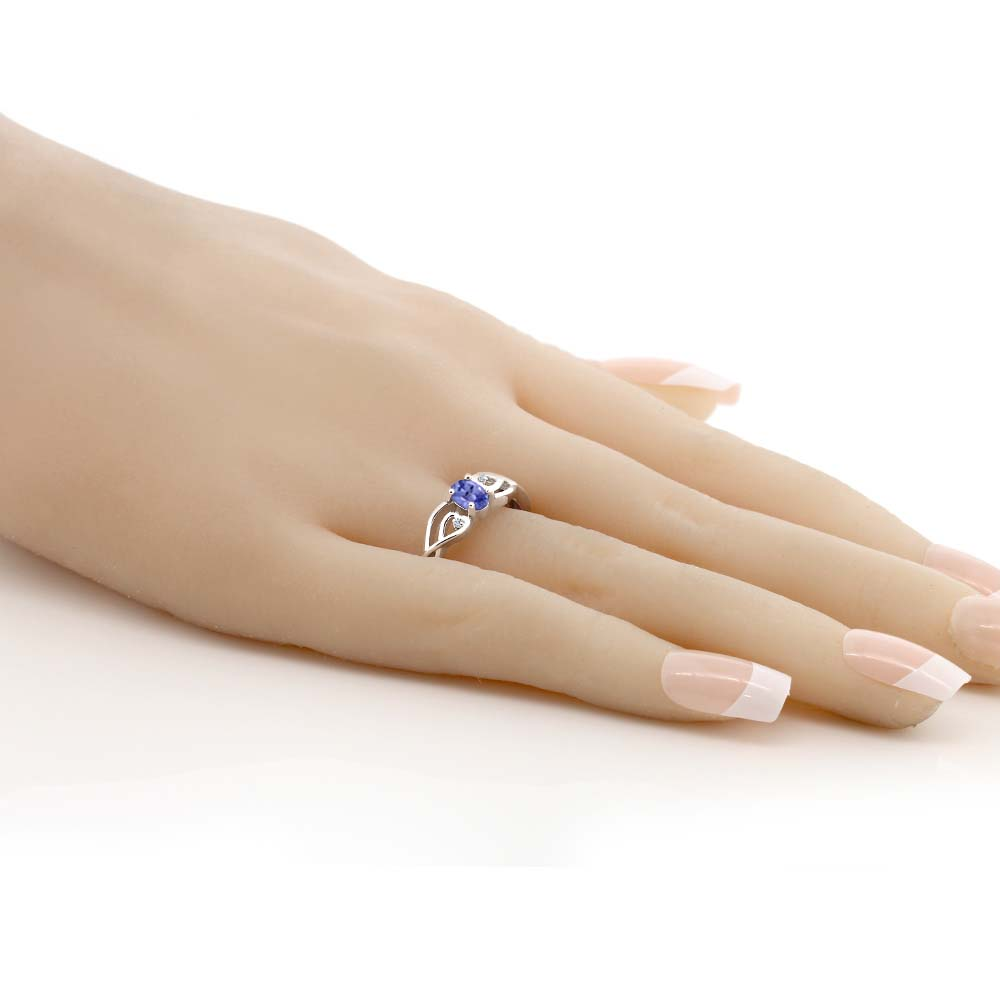 ce4eb6ea7cdb8 US $48.99 |GemStoneKing 0.46 Ct Oval Natural Blue Tanzanite White Diamond  Engagement Wedding Ring 925 Sterling Silver Women's Fine Jewelry-in Rings  ...