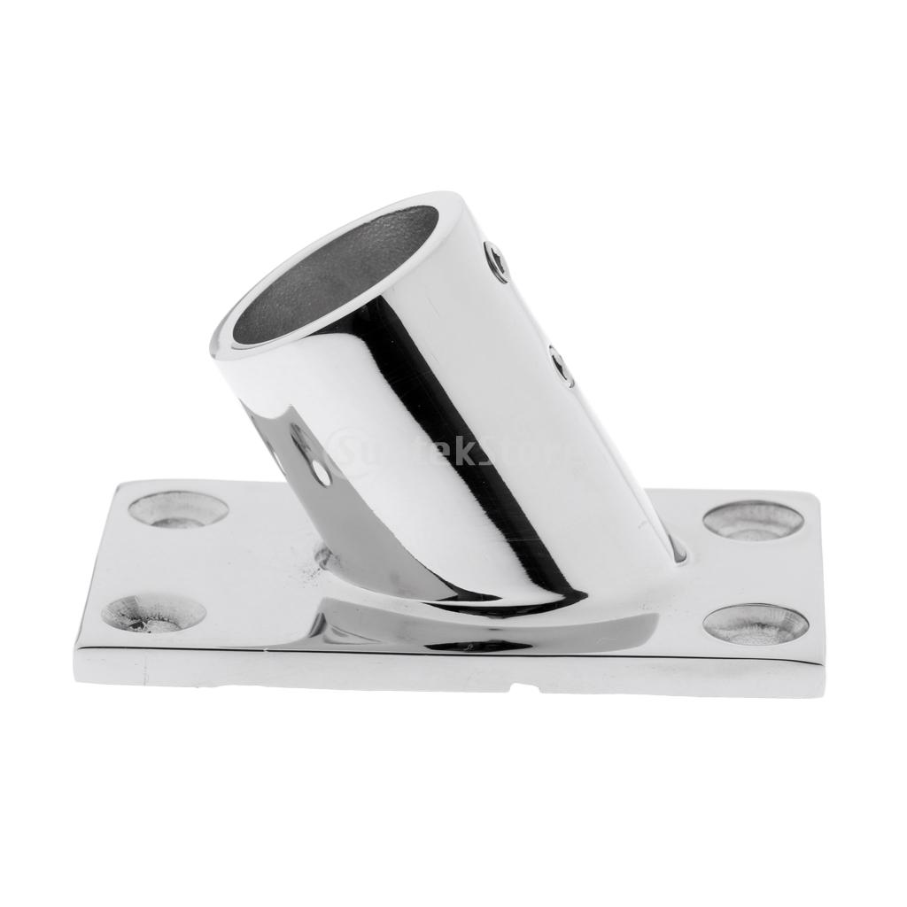 Marine Boat 60 Degree Deck Handrail Rectangle Base for 22mm Rail Tube