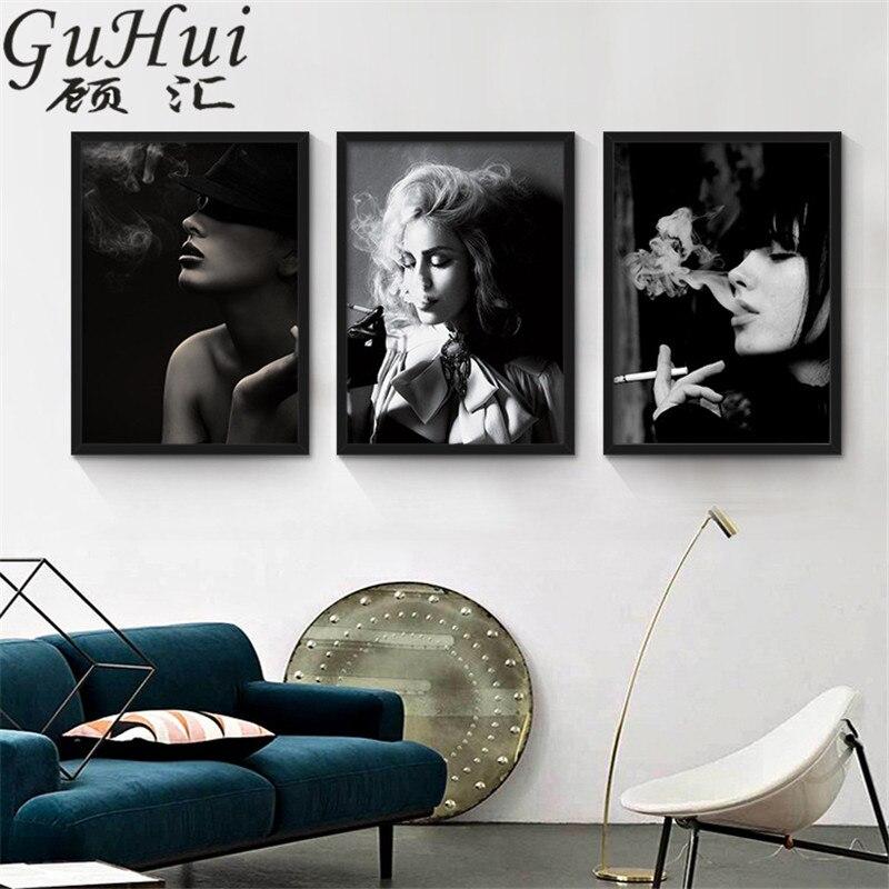 Schwarz Weiß Rauchen Blondie Sexy Lady Schöne Mädchen Leinwand Malerei Wandbilder  Wohnzimmer Hintergrund Cuadros Decoraction