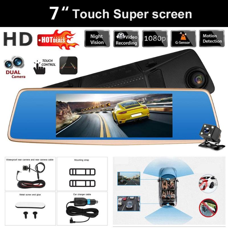 V36 7 Inch Rear Mirror Car Recorder Touch Screen HD 1080P 12MP Camera View Camera Parking Reverse Backup Camera for All Car New цена