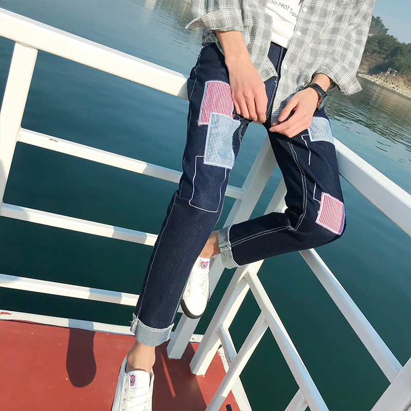 2018 Spring And Summer New Patch Pocket Printing Stretch Jeans Feet Fashion Personality Classic Tide Male Popular Youth
