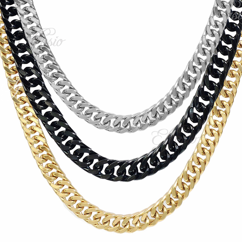 11MM Stainless Steel Chain Mens Boys Silver/Black/Gold Square Curb ...