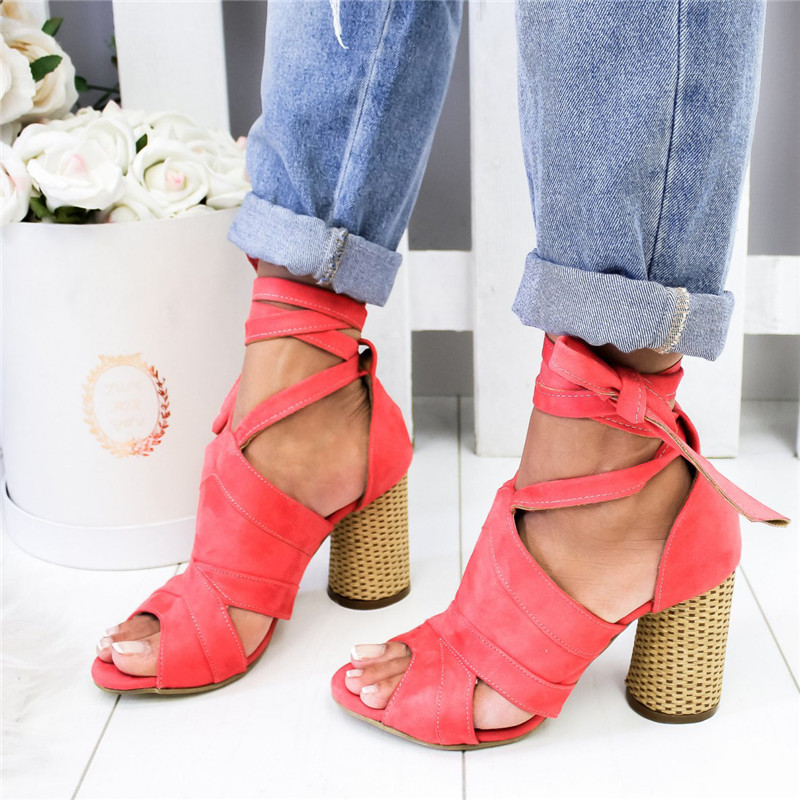 Shujin Women Pumps Ankle Cross Strap Sandals Shoes Woman Ladies Pointed Toe 2019 High Heels Dress Party Shoes Zapatos Mujer