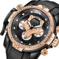 BREAK Chronograph Army Quartz Watches Waterproof Rubber Band Sport Watches Luxury Gifts For Men With Watch