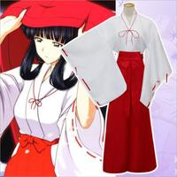 Hot Anime Inuyasha Kikyo Cosplay Kimono Costumes Halloween Costume For Women Party White And Red Mixed