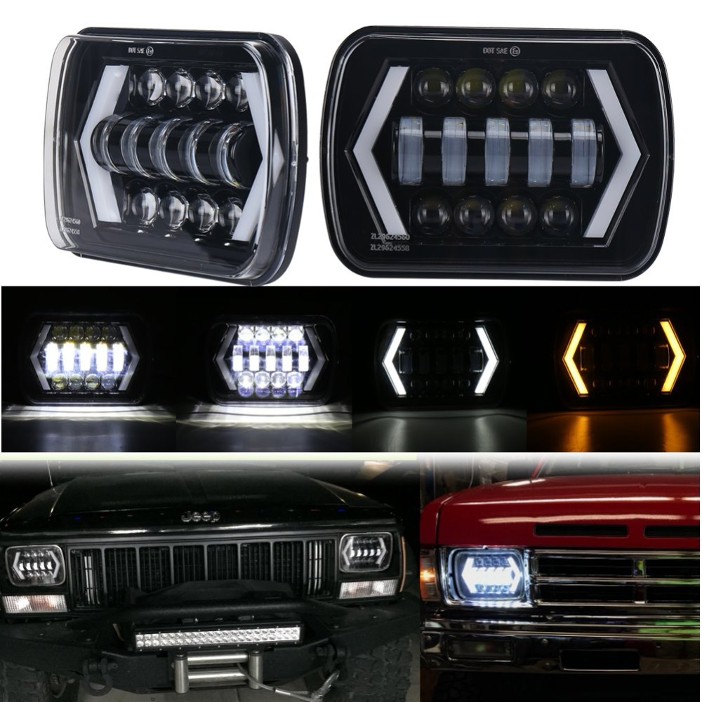 7x6 and5x7 Square LED Headlamp with Angel Eyes DRL Turn Signal Light Replaces H5054 H6054LL 69822