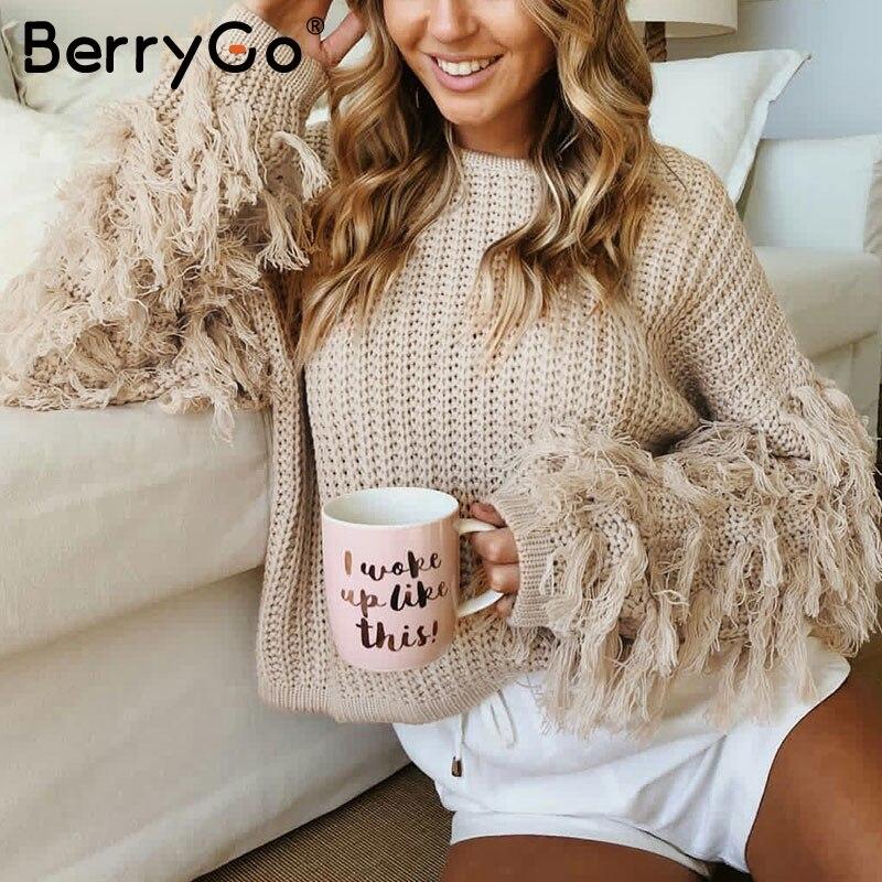 BerryGo O Neck Winter Sweater Women Army Green Long Sleeve Tassel Casual Pullover 2018 Autumn Street Pull Femme Outerwear Jumper