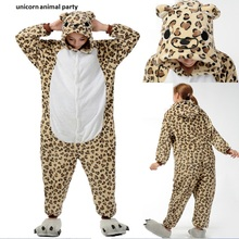 Adult Leopard Onesies Pajamas Cartoon Animal Costume Children Onesie Jumpsuit Pyjamas Unisex Pijamas Sleepwear Party Clothes