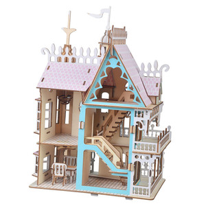 Image 4 - Drewniane lalki meble domowe zabawki DIY montaż domek dla lalek miniaturowy domek dla lalek dla dziewczynek prezenty dla dzieci puzzle zabawki