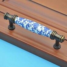 96 мм модный винтажный белый и синий фарфоровые мебельные ручки