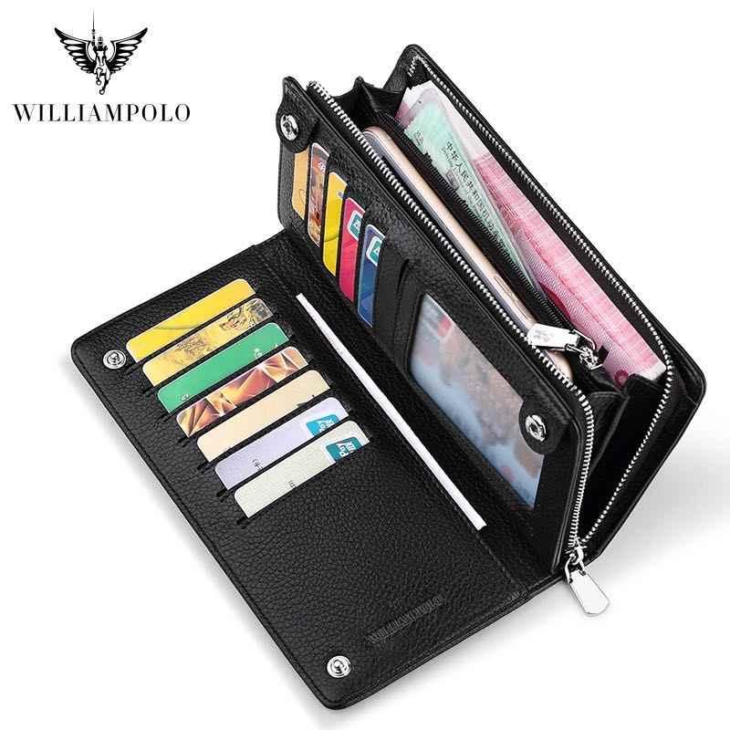 Cartera larga de cuero de marca de lujo para hombre, billetera larga, cartera para hombre, bolso de mano para hombre bolso PL219