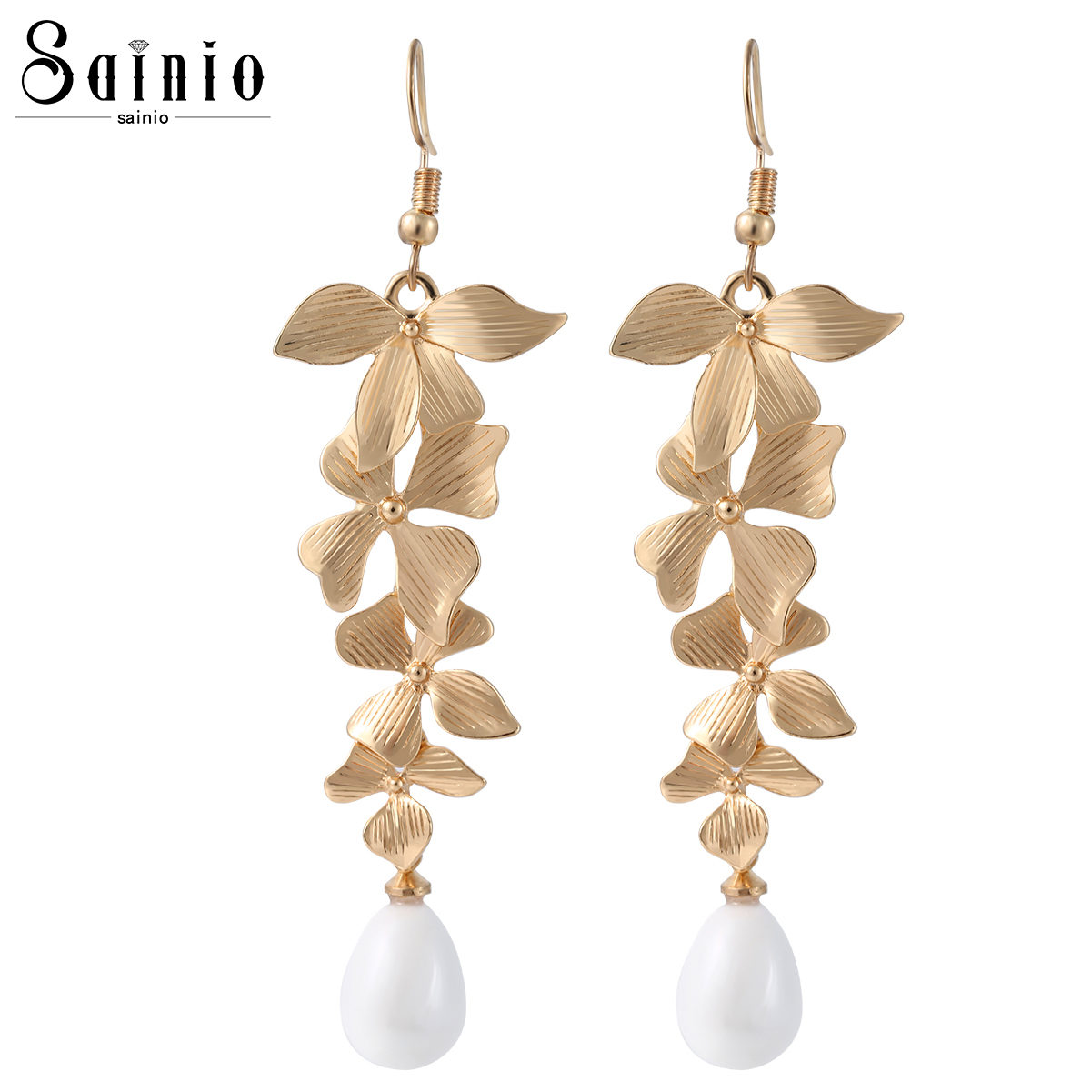 sneakers for cheap amazon wholesale Orchid Flower Gold Color Simulated Pearl Long Dangle Earrings ...