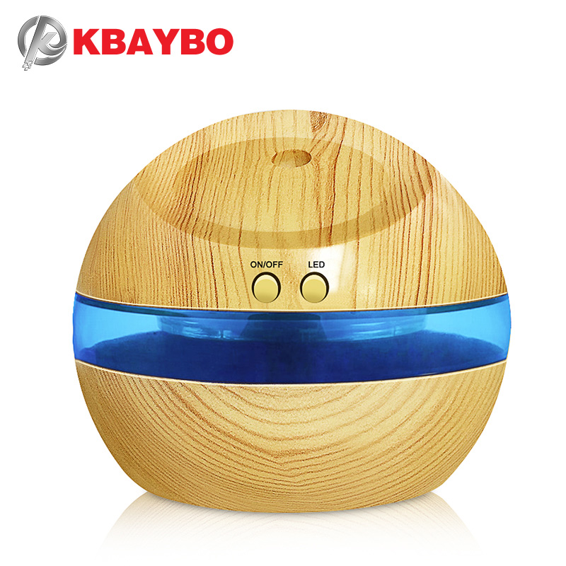 USB Ultrasonic Humidifier, 300ml Aroma Diffuser Essential Oil Diffuser Aromaterapi pembuat kabus dengan Blue LED Light (Kayu bijirin)