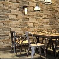 beibehang Retro 3D marble brick pattern antique brick industrial wind wallpaper restaurant clothing store barber shop wallpaper