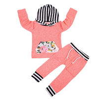2PCS High Quality Cute Newborn Baby Boy Girls Flower Outfits Hoodies Pocket Long Sleeve Tops+Long Pants Baby Clothing Set