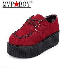Spring Autumn Flat Shoes Vintage Women Creepers Platform Woman Flatform Black red Suede For