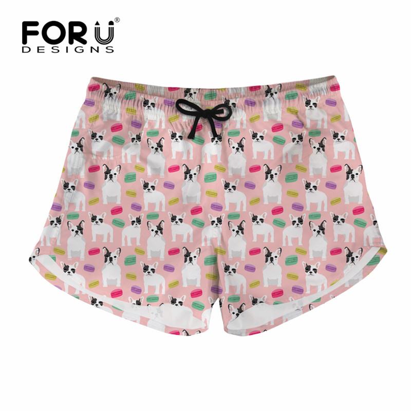 FORUDESIGNS French Bulldog Printing Women Casual Board Short Summer Quick Dry Shorts Girl Ladies Fitness Home Shorts Female