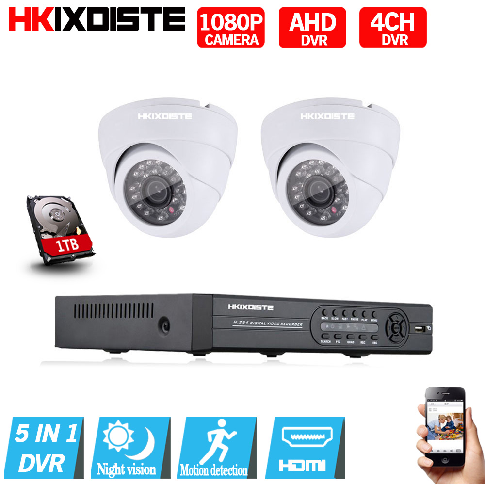 4CH 1080N 1080P CCTV DVR 1080P Indoor IR Night Camera Home Security System 4 Channels 2