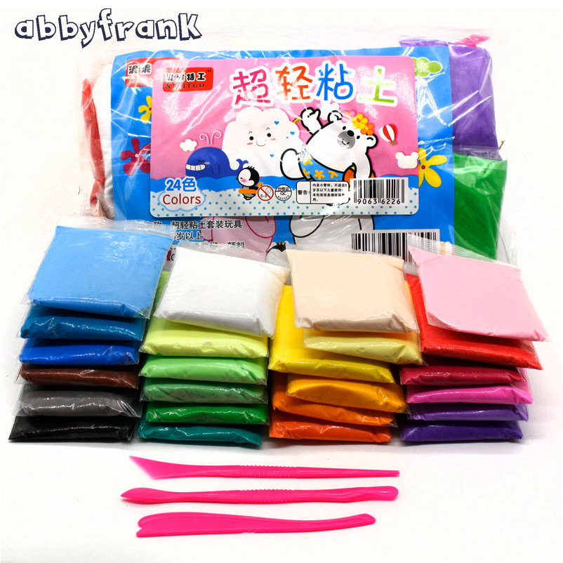 12/24 stk Air Dry Light Clay Polymer Plasticine Modeling Clay Med Verktøy DIY Soft Creative Handgum Educational Slime Toys