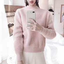 Winter pullover sweater women rabbit's hair blend Imitate mink cashmere knitted pullover sweater thick pullover sweater pm9139 цена