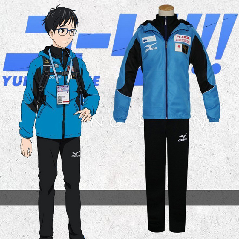 Cool YURI on ICE Katsuki Yuri Unisex Cosplay Costume Men Sport Suit Sportwear Outfit Blue Jacket+Black Top+Black Pants Full Set