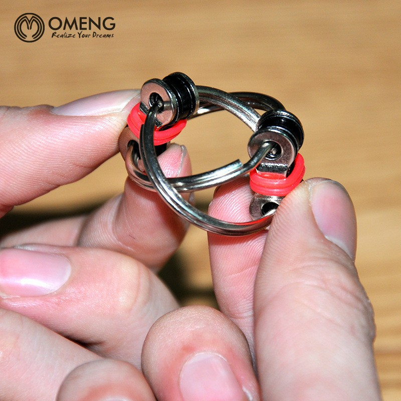 OMENG Portable Fingertip Gyro Key Ring Hand Spinner Tri-Spinner Reduce Stress Fidget Toy For Autism