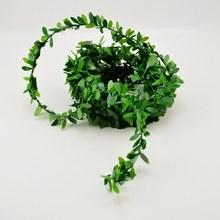 М 2 м искусственные цветы ротанга листьев нейлоновый металлический провода DIY ВЕНОК аксессуар для свадьбы украшения автомобиля гирлянда шелк Скрапбукинг