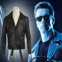 Terminator 2: Judgment Day Costumes Terminator Jackets Cosplay PU Leather jacket motorcycle jacket movie COS clothing menswear