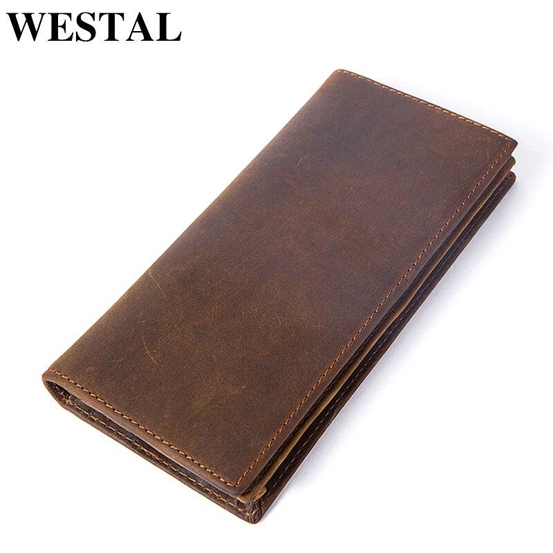 WESTAL Men's Wallet Genuine Leather Clutch Male Crazy Horse Leather Wallets Purses Long Wallet Men Card Holder Coin Wallets 7126