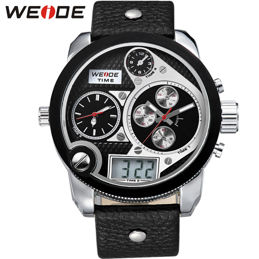 WEIDE Top Brand Mens Vintage World Four Time Watch LCD 3ATM Water Resistant Leather Strap Round Dial Wristwatches Gifts for Men weide high quality watch men luxury brand big dial 3atm water resistant stainless steel back lcd wristwatches with alarm items