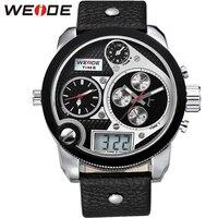 Weide Top marca dos homens do Vintage mundo quatro tempo relógio LCD 3ATM resistente à água pulseira de couro Round Dial relógios de pulso presentes para homens relógios dos homens relogio masculino