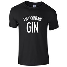 MAY CONTAIN GIN Mens T-Shirt S-3XL Funny Printed Alcohol Joke  Free shipping newest Fashion Classic Unique gift