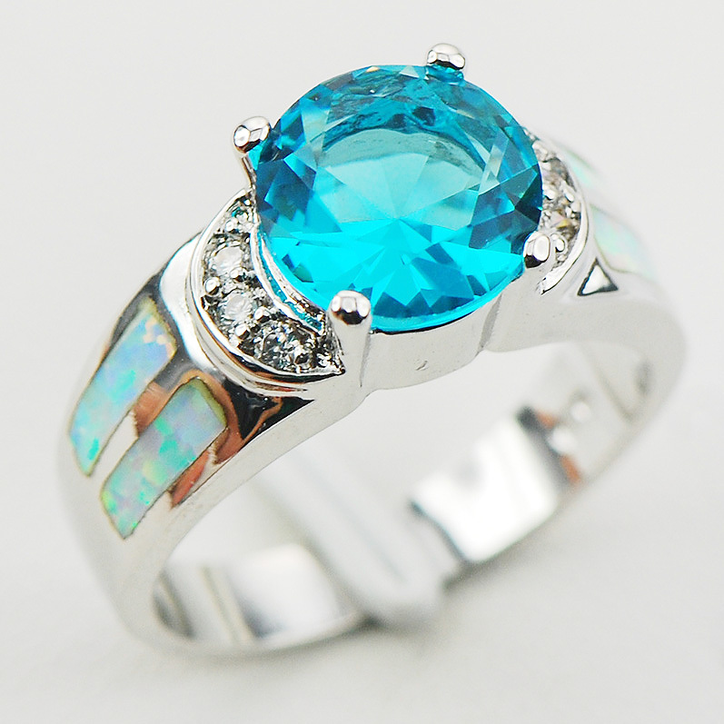 Simulated Aquamarine White Fire Opal 925 Sterling Silver Ring Size 6 7 8 9 10 R1173 Fashion