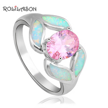 Rolilason очаровательный 925 серебро Белый огненный опал кольцо модное Стильное Юбилей подарок американские женские Кольцо OR736