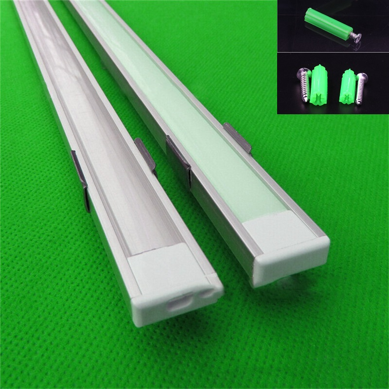 5-30pcs/lot ,1m aluminum profile for led strip,milky/transparent cover for 12mm 5050 strip with fittings,slim LED bar light 30cm 50cm milky transparent cover aluminum led bar light channel holder cover for led strip light