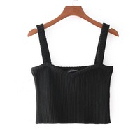 Sishot Gothic Crop Tops Female Cute Women Fashion Sleeveless Solid Tank Tops New Arrival Casual Plain