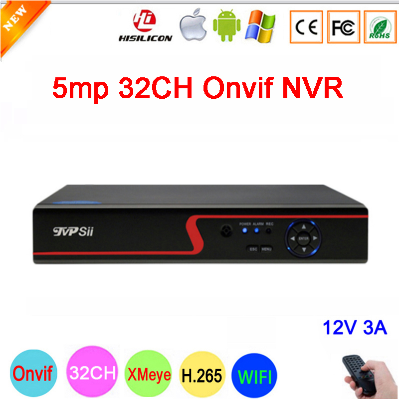 Red Panel Hi3536C 5mp*32CH/8mp 4k*8CH XMeye Audio H.265+ 32CH 32 Channel 5mp One SATA IP Onvif  WIFI CCTV NVR