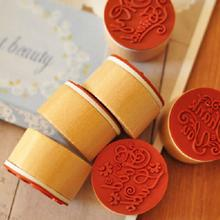 Retro Floral Flower Pattern DIY Round Vintage Wooden Rubber Stamp Scrapbook Love you Thank you Letter Stamp Free shiping