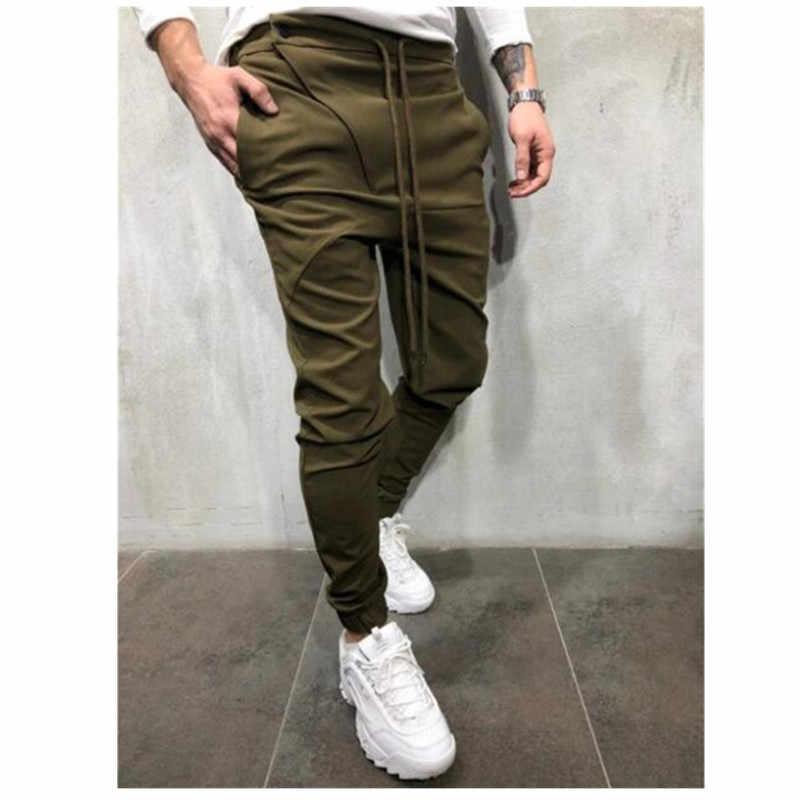 Erkek yeni koşu pantolonları rahat knickerbockers hip-hop pantolon erkek eşofman altı