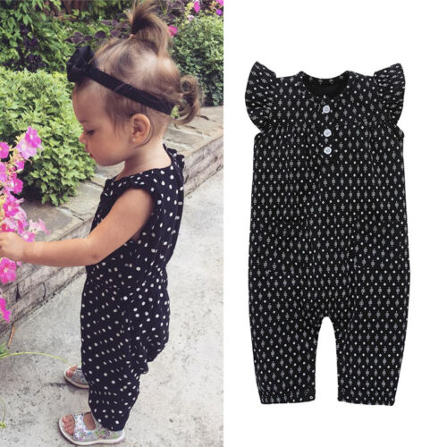 Newborn Baby Girl Clothes Polka Dots Jumpsuit Bodysuit Set Outfit US Wea Support Wholesale