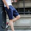Apressado 2016 Boa Qualidade Novo Padrão Homem Algodão Cor Sólida Reta Meados de Verão Na Altura Do Joelho Dos Homens Casuais Calções