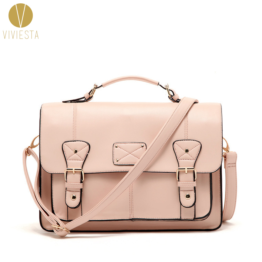2 WAY PINK SATCHEL BAG Women's Cute Vintage England Style Large A4 ...